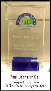 Paul Usoro & Co. Transport Law Firm of the Year, 2017